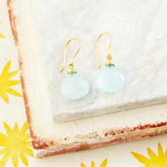 Hera Hooded Drop Earrings With Aqua Chalcedony