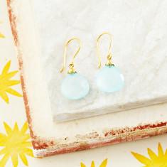 Hera Hooded Drop Earrings With Aqua Chalcedony