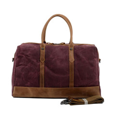 Canvas Waterproof Weekender Bag With Leather Handle In Red