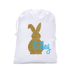 Personalised bling bunny Easter egg hunt tote bag in blue or mint