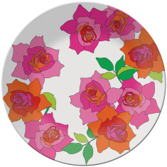 French Bull round platter in rose pattern