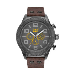 CAT CAMDEN Dual - Time series watch in Gun Metal Grey, Yellow & Brown