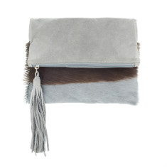 Tash Grey Bok + Grey Leather Clutch