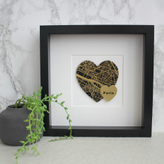 Personalised Gold Foil Double Heart Map Picture