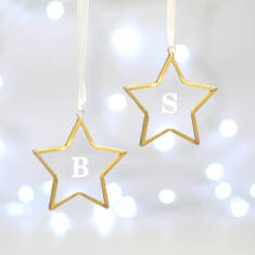 Set Of Two Personalised Glass Star Decorations