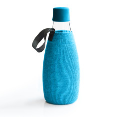 Retap Glass Water Bottle in blue