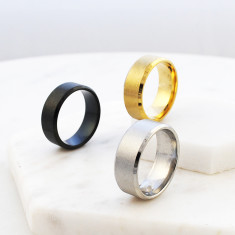 Classic men's brushed titanium ring in silver, gold and black
