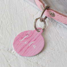 Pink Wood Pet ID Tag