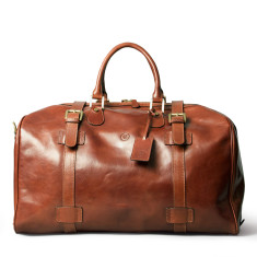 The Flero Large Personalised Leather Overnight Holdall Bag