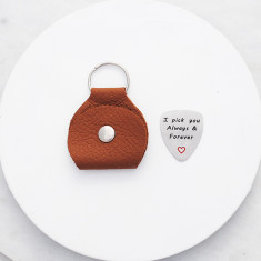 I pick you always and forever guitar pick and leather pouch