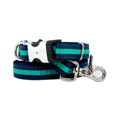 Bronte Nylon Collar & Lead Set In Navy & Green