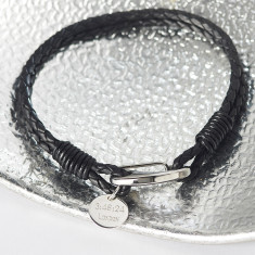 Leather Bracelet with Personalised Disc