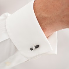 Bambu ebony and silver cufflinks