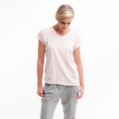 Rounded V Tee in Powder Pink