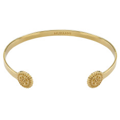 lace doily open cuff in 18 kt yellow gold plate