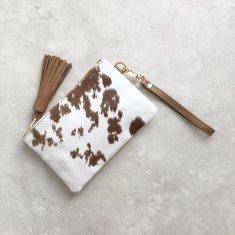 Mini Masai Mara Clutch in Tan and White Cowhide