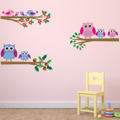 Owls and Birds On Branches Wall Sticker