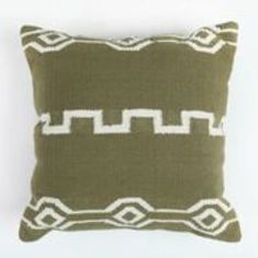 Ancient script hand loomed cotton cushion cover in olive green