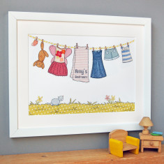 Personalised Little Girl's Washing Line Print