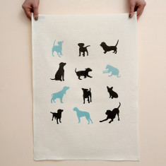 Dogs linen tea towel