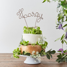Wire Hooray Cake Topper