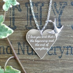 Personalised I love you sterling silver heart & charm necklace