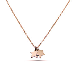 Double Little Star 9ct Rose or Yellow Gold Necklace