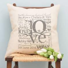 Personalised Wedding Or Engagement Love Cushion