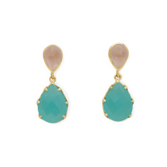 Aqua Calci Onyx and Rose Quartz Earrings