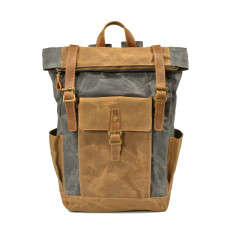 Canvas Waterproof Backpack With Pockets In Grey