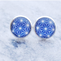 Blue geometric glass stud post earrings in silver