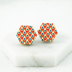 Wood stud earrings in orange hexagon design