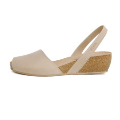 Cardona leather wedge sandals in beige