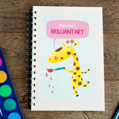 Personalised giraffe kids' sketch book