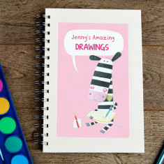 Personalised zebra kids' sketch book