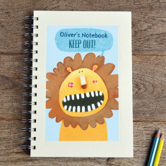 Personalised boys' lion notebook