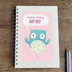 Personalised girls' owl notebook