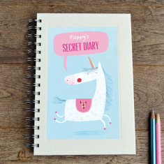Personalised girls' unicorn notebook