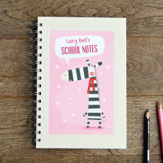 Personalised girls' zebra notebook