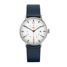 Silver 32mm watch with blue leather band
