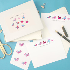 Personalised butterflies notecards writing set