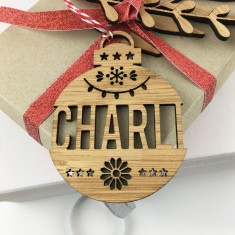 Personalised Christmas bamboo name decoration