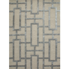 Silver Gray/Medium Gray hand tufted wool & art silk rug