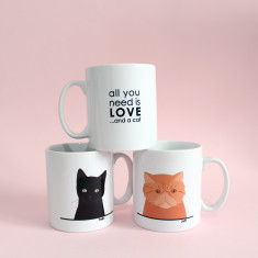 Personalised 'All You Need Is Love And A Cat' Mug