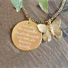 Personalised silver or gold disc & butterfly necklace