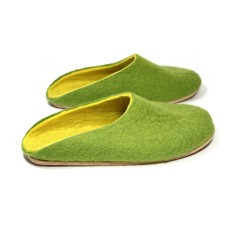 Women's Handmade Wool Clogs In Green & Yellow