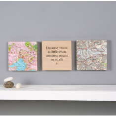 Three personalised map squares wall art