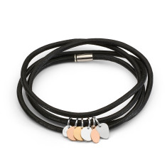 Leather and tag wrap bracelet