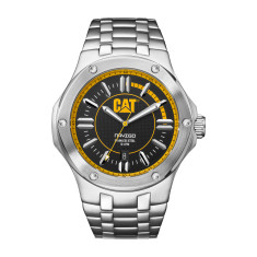 Navigo series watch with steel band and black/yellow face plus free gift