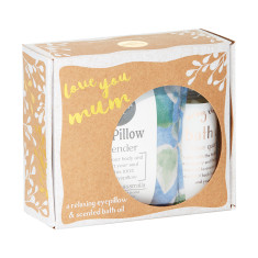 Love You Mum Small Gift Pack - lavender eyepillow in Jungle print and rose quartz bath oil